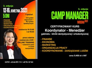 CAMP MANAGER - 12-16 kwietnia (1 osoba)